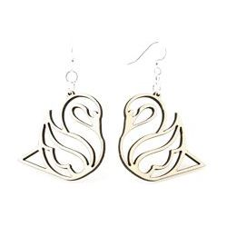 Natural Wood Swan Wood Earrings