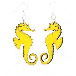 Yellow Seahorse wood earrings