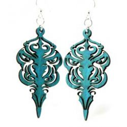 Teal Mask Wood Earrings
