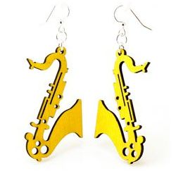 Yellow saxaphone earrings