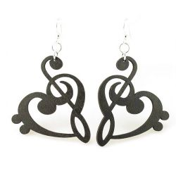 Treble Clef Black Heart Wood Earrings