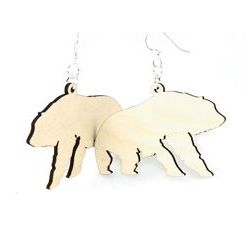 Natural Wood Polar bear wood earrings