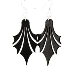 black dropped point wood earrings