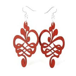 cherry red calligraphy flower stretched wood earrings