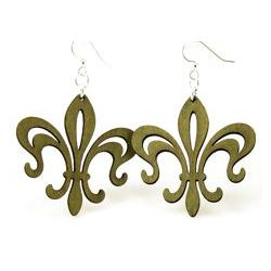 green fleur de lis hollow point earrings