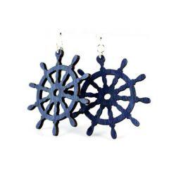 Royal Blue Ship Wheel Earrings
