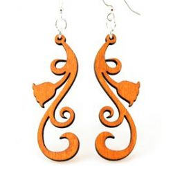 Tangerine tulip scroll wood earrings