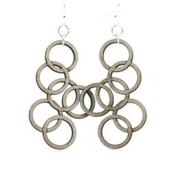 Gray interlocking circle wood earrings
