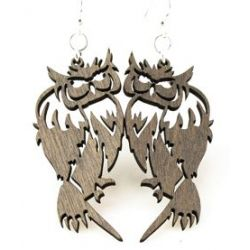 Gray barn owl wood earrings