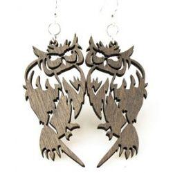 Gray barn owl wood earrings