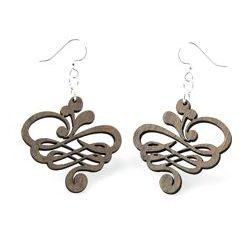 Gray Small calligraphy wood earrings