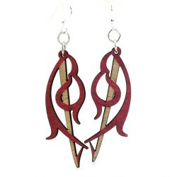 Red buckler wood earrings