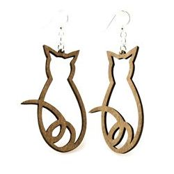 Gray cat outline wood earrings