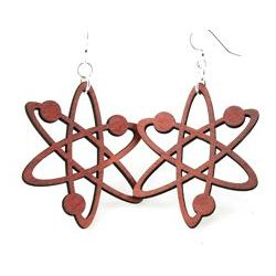 cherry red atom earrings