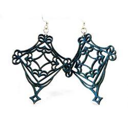blue fretwork wood earrings