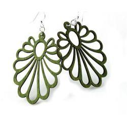 green large flower wood earrings