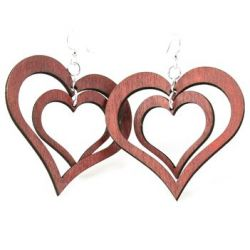 double heart wood earrings