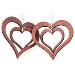 double heart wood earrings