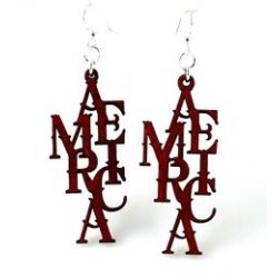 america wood earrings