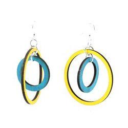 two circle wood earrings