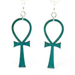 ankh wood earrings