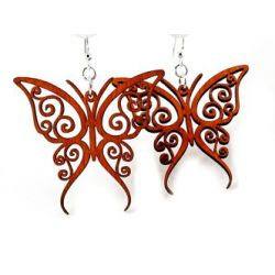 red fancy butterfly wood earrings