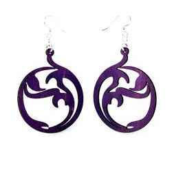 circle art wood earrings