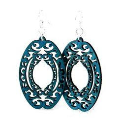 decorative oval wood earrings