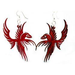 phoenix bird wood earrings
