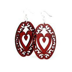 red decorative heart oval wood earrings