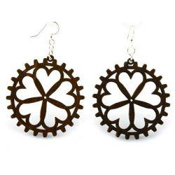 brown heart gear wood earrings
