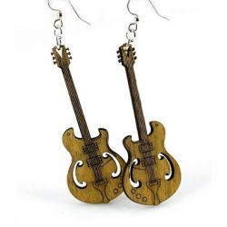 Cinnamon Electric Guitar Wood Earrings