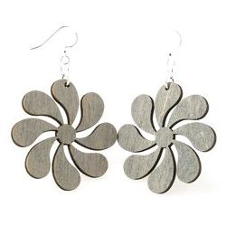 Gray inside flower wood earrings