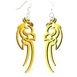 Yellow tattoo parrot wood earrings
