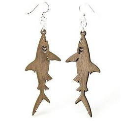 Gray shark wood earrings