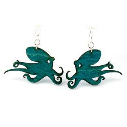 Teal Octopus Wood Earrings