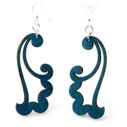 royal blue wind blowing wood earrings