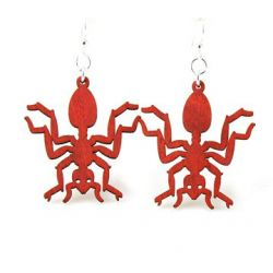Cherry red ant wood earrings
