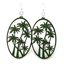 kelly green palm tree wood earrings