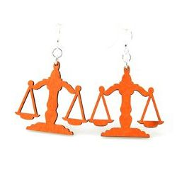 Scale of Judicial Balance Wood Earrings