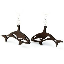 Black killer whale earrings