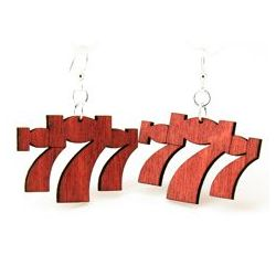 red lucky seven wood earrings
