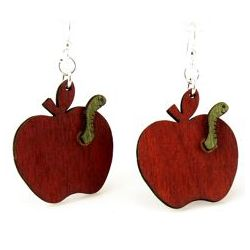Red teachers apple wood earrings