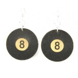 8 ball wood earrings