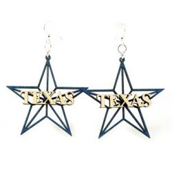 Texas star wood earrings