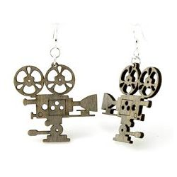 Gray movie camera wood earrings