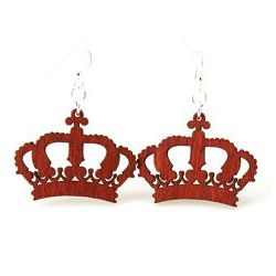 Cherry red crown wood earrings