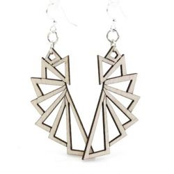 Natural wood triangular wood earrings