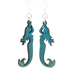 Aqua Marine mermaid wood earrings
