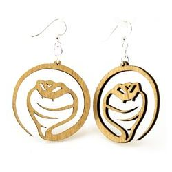 Tan cobra snake wood earrings